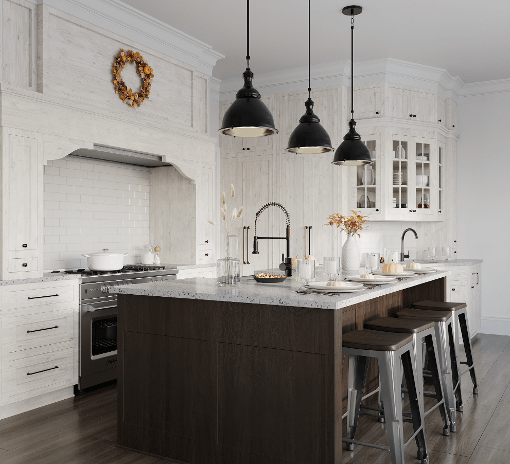 Modern farmhouse kitchen design with stainless steel workstation sink, farmhouse white cabinets, rustic shiplap walls, and rustic fall accents.