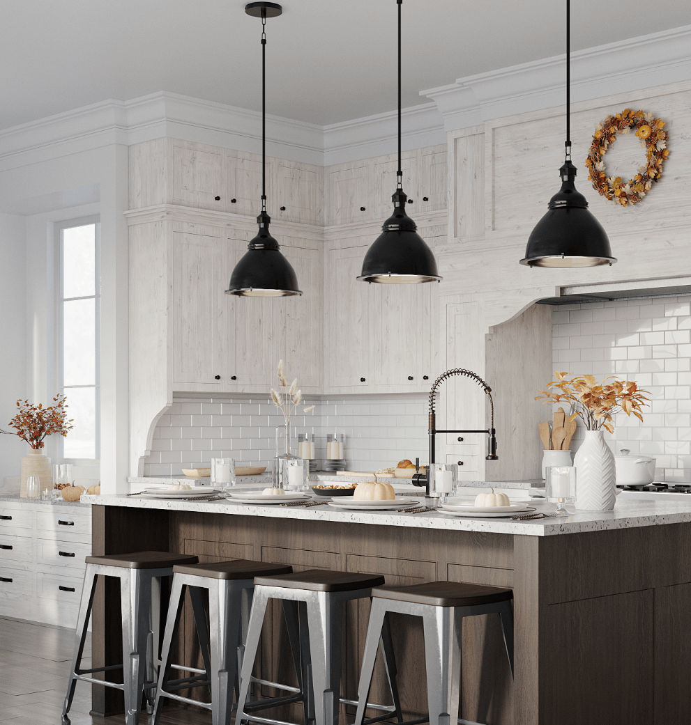 Open concept farmhouse kitchen with industrial design pieces, rustic shiplap walls, crisp subway tile, and fall foliage.
