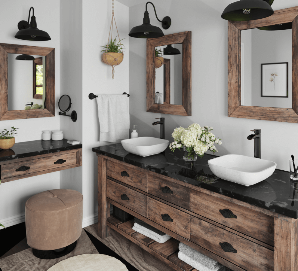 Farmhouse bathroom with rustic oak frames, white stone composite bathroom sinks, antique vanity, matte black accents, and fresh greenery.