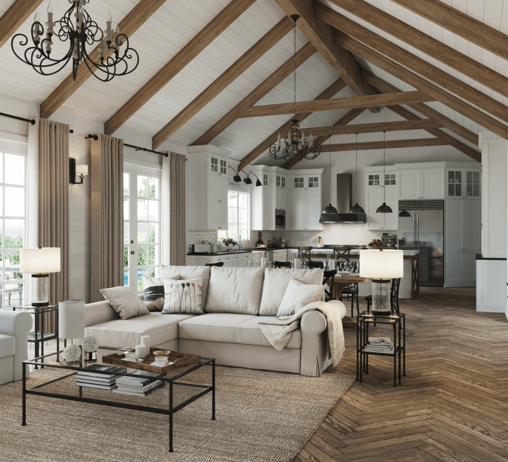 Bright living room and kitchen with rustic oak beams, elegant herringbone flooring, and french country decor style.