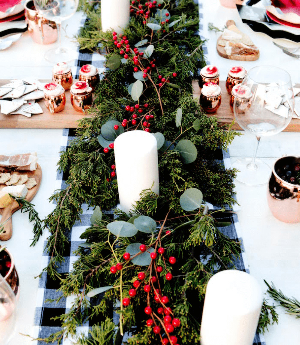 Holiday-themed tablescape design that is ready for all of your festivities!