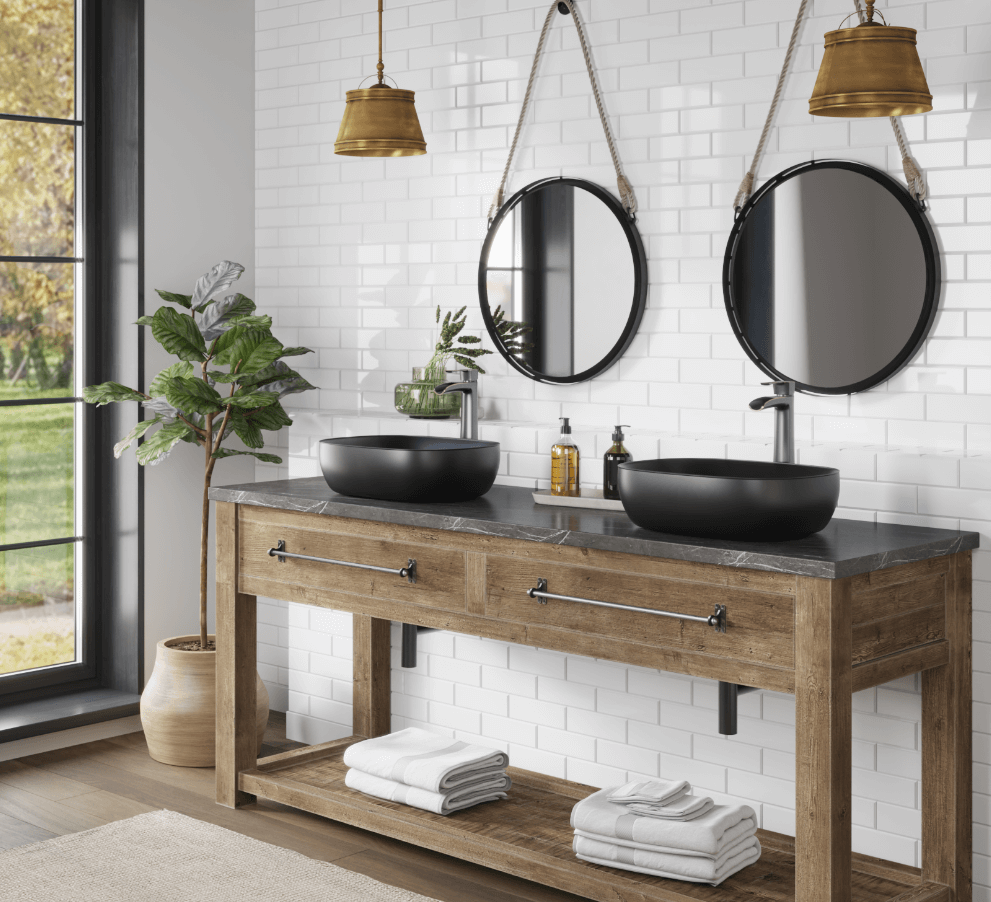 Incorporate black and bold accents inside of your bathroom by installing black hardware and a matte black vessel sink.