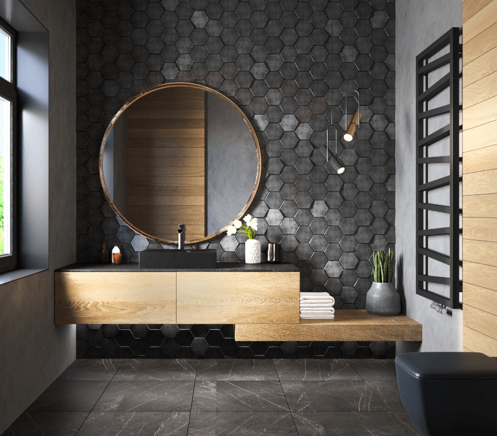 Elegant bathroom with stone backsplash wall, wood accents, and a matte black sink.