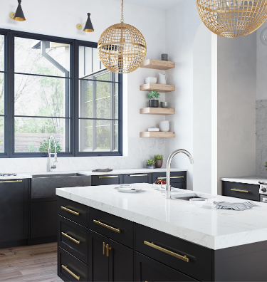 Mix up your kitchen by adding black cabinets, a concrete farmhouse sink, and crisp granite countertops to create a chic contrast.