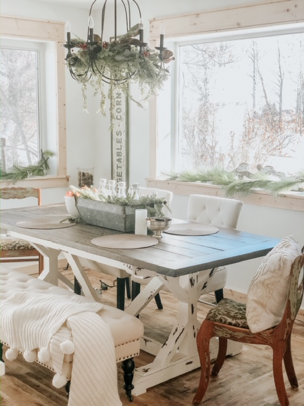 Put away the reds and sparkles from the holidays and decorate your dining room with simple greenery.