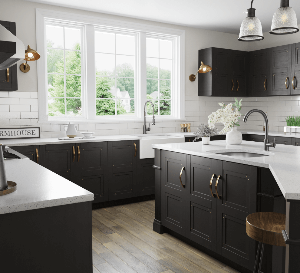 Farmhouse kitchen with farmhouse apron sink and neutral color palette.