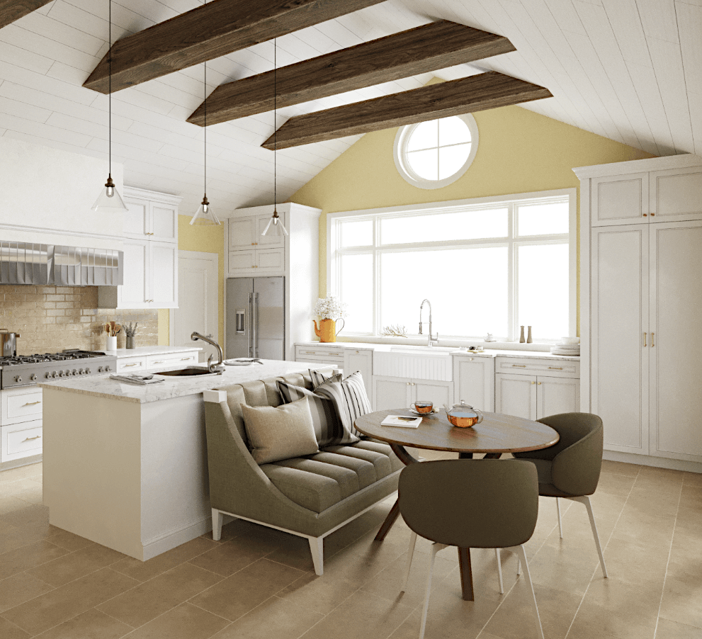 Farmhouse kitchen design with large wooden beams with subtle yellow walls and large farmhouse sink.
