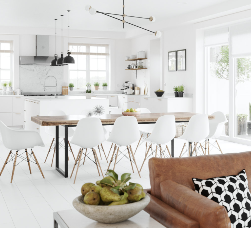 Cozy Scandinavian style home design with crisp white walls, contemporary leather couch, and minimalistic room design.
