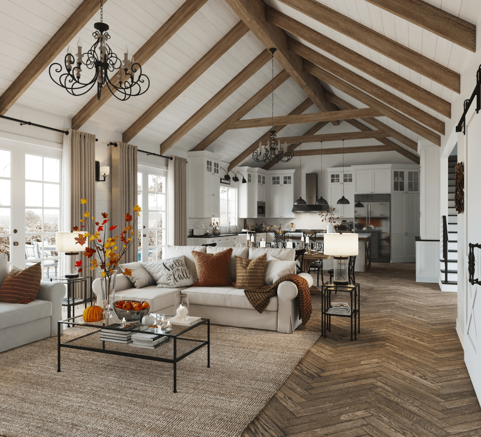 Rustic farmhouse home design with oak beams, and fall design accents like cozy autumn pillows, fall leaves, and pumpkins.