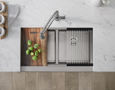 Use the Ledge Series sink as a prep station, drying rack, a countertop and much more!