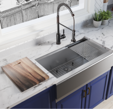 The spacious interior of the Ledge Series sink has plenty of room for large pots and pans.