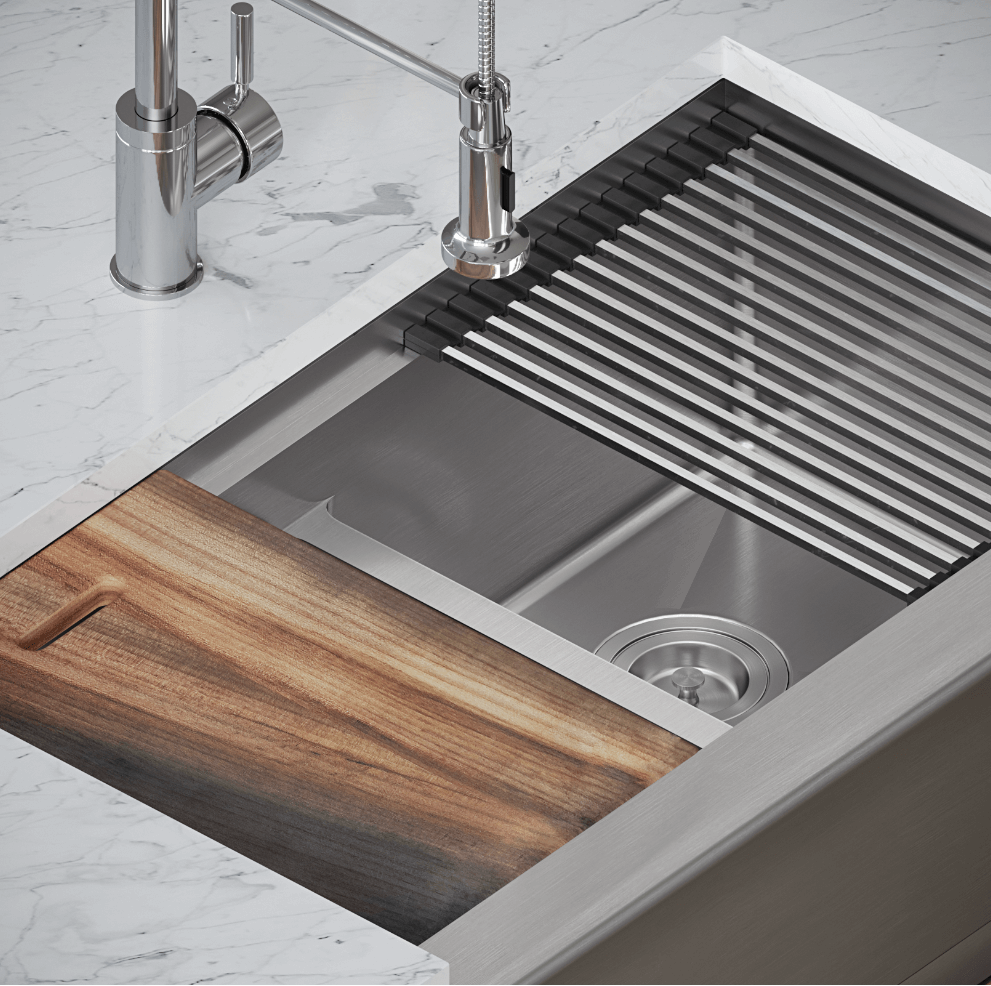 This Ledge Series sink are built with sound-dampening pads that help mute that clatter from dishes!