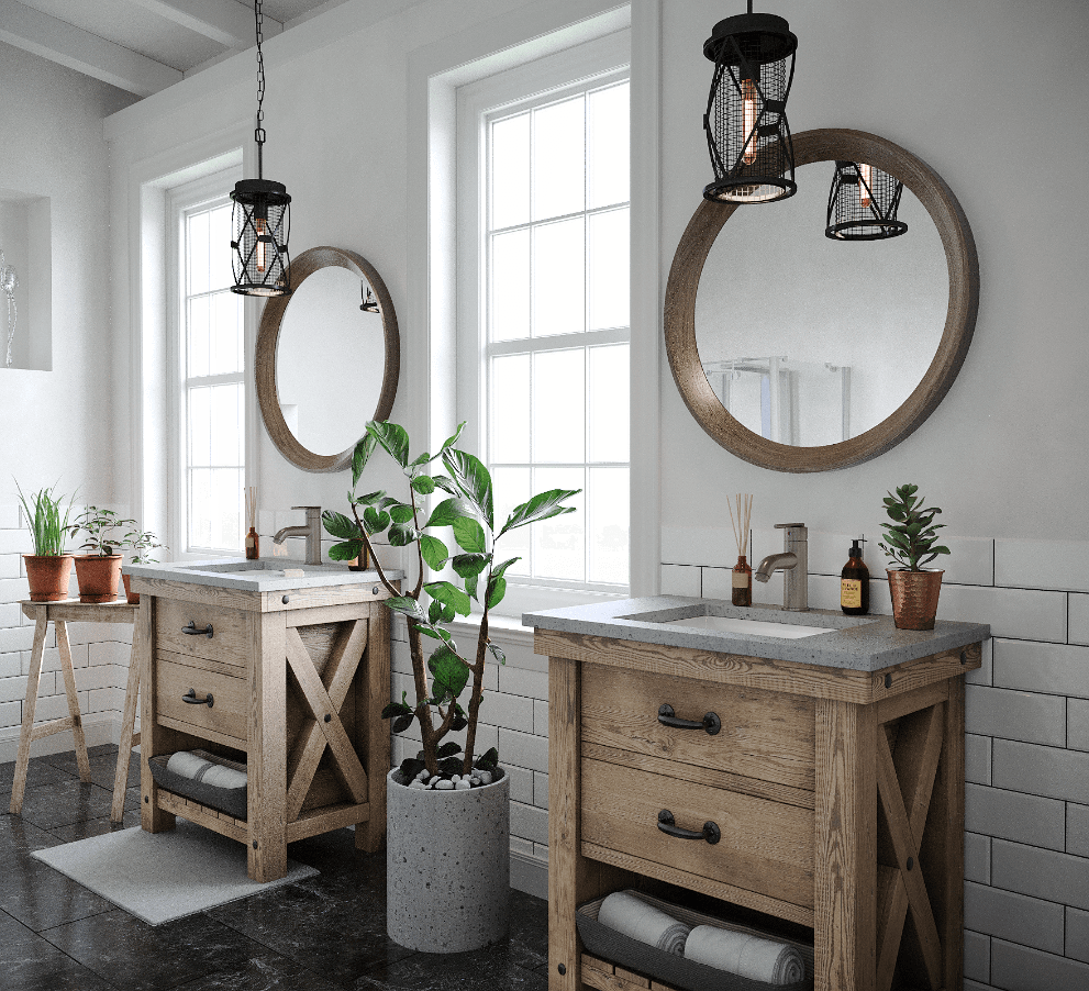 Undermount porcelain sink inside of a farmhouse bathroom with subway and greenery.