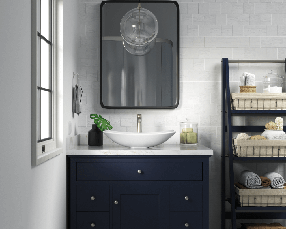 Cozy bathroom with open shelving for storage and a vessel porcelain sink.