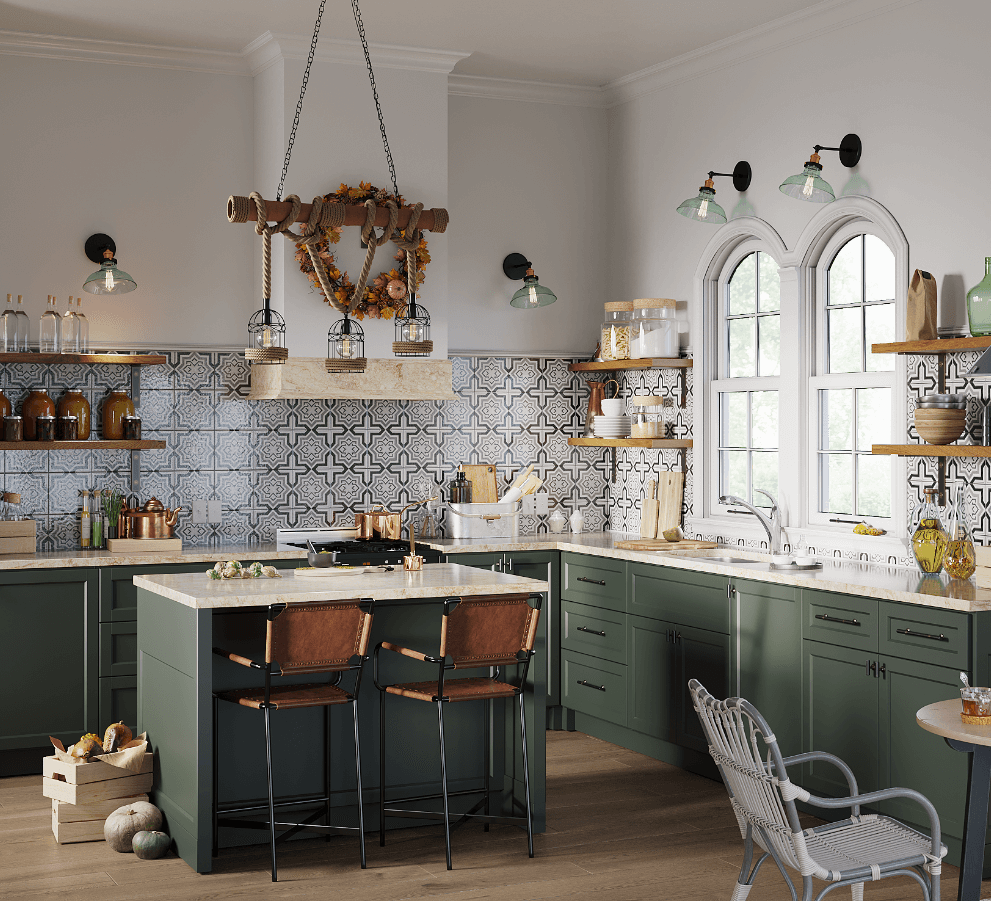 Bohemian open concept kitchen design with stainless steel sink and chrome faucet, earthy olive green cabinets, moroccan tile backsplash, and fall festive decor.