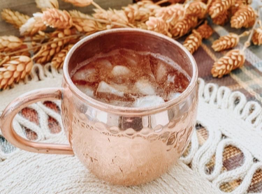 Festive fall pumpkin spice moscow mule drink with crisp ginger beer and fresh seasonal spices.