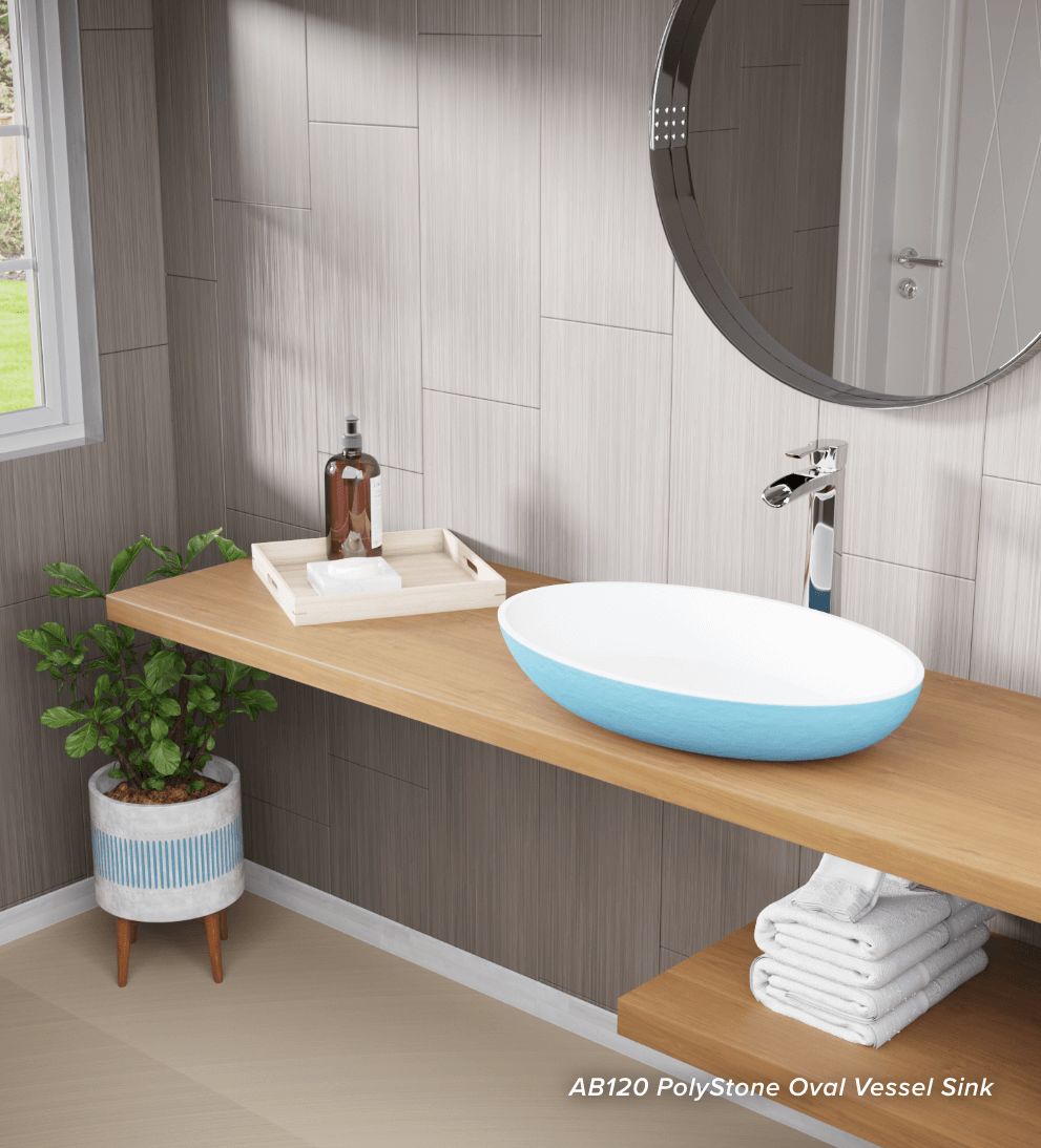 Traditional bathroom with an all-natural mineral Polystone sink.