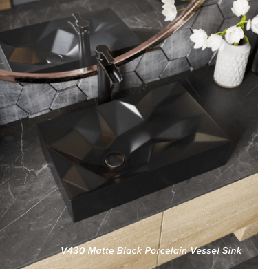 Create a bold look inside of your bathroom with a matte black geometric bathroom sink.