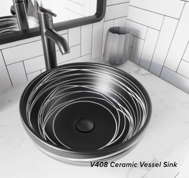 Black and white ceramic vessel sink complements a contemporary bathroom.