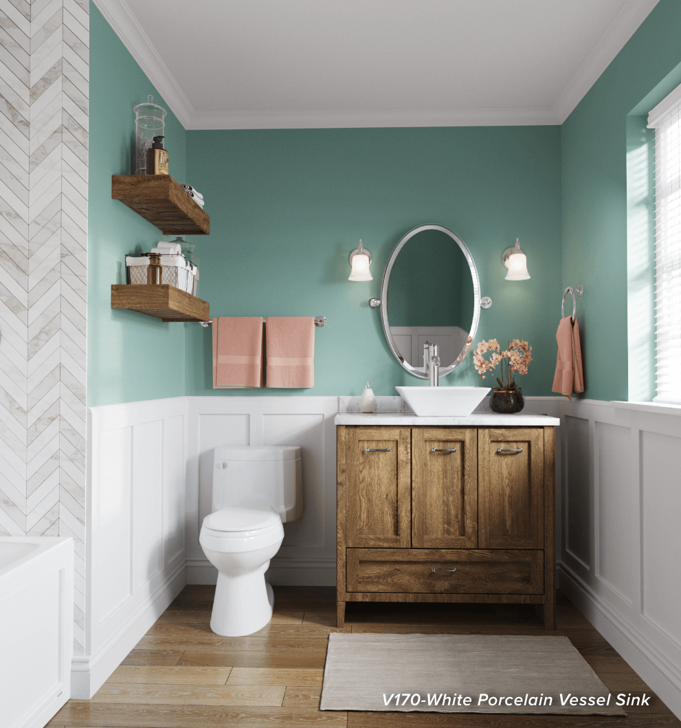 Practical bathroom design, with a stylish touch from a vessel porcelain sink.