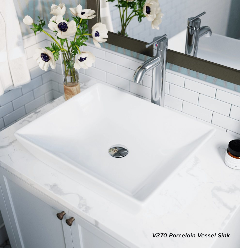 Save counter space in your bathroom by adding a PolyStone vessel sink.
