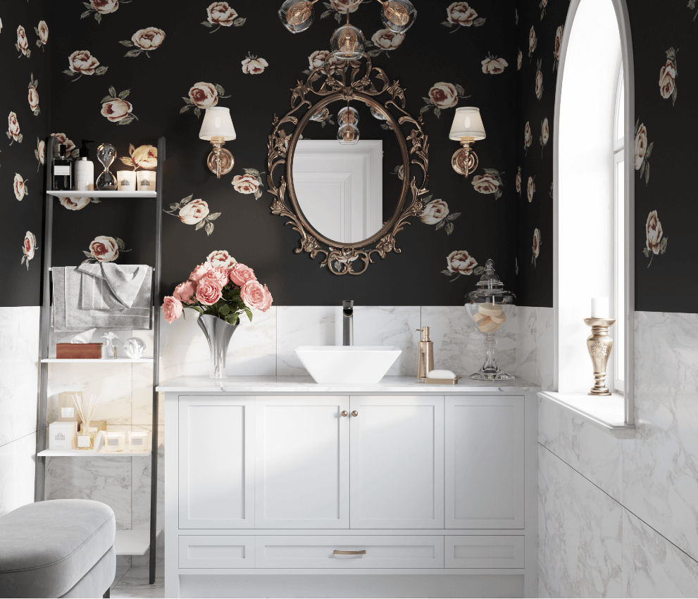 Vessel porcelain sink on marble countertop with bold wallpaper, crisp white cabinetry and open shelving.