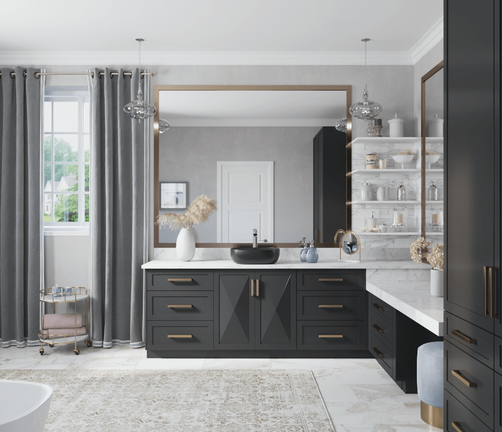 Modern bathroom design with a matte black sink, pampas grass, large open shelving and moroccan rug.