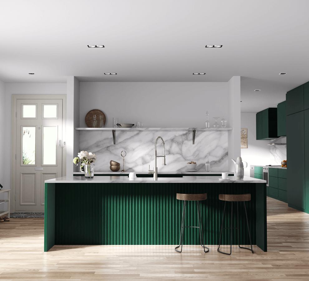 Modern kitchen design with large emerald green kitchen island and elegant marble backsplash.