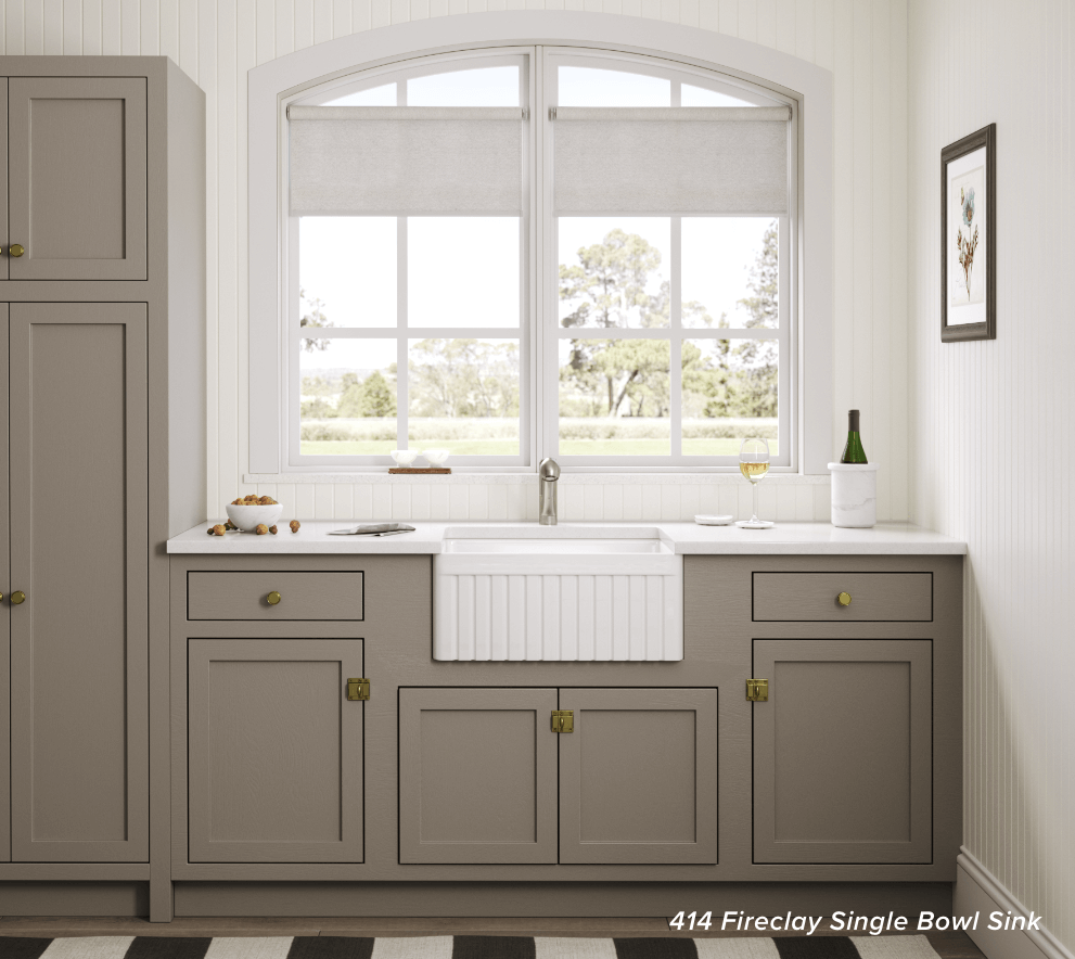 Get a 414 Fireclay sink with 2-day shipping to complete your farmhouse kitchen.