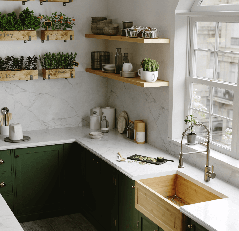 Modern contemporary kitchen with a bamboo kitchen sink, wooden open shelving and fresh herb boxes full of parsley, rosemary and basil.