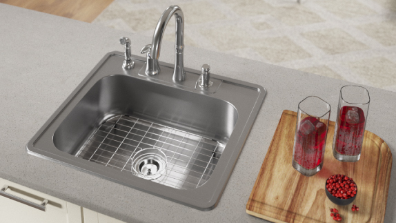 Our topmount 16-gauge sinks are easy to maintain