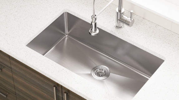 Our 18-Gauge sinks are made from high quality, cold rolled, 304-steel.