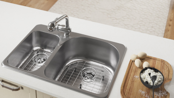 Our Top-mount stainless sinks are simple to care for.