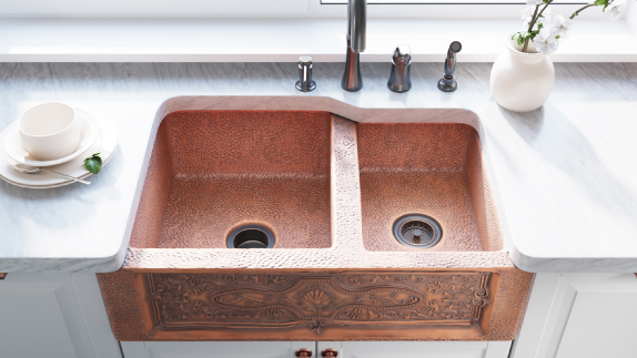 Apron sinks require a custom build cabinet before being installed.