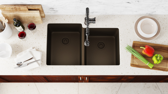 Our blend of crushed quartz and acrylic make for beautiful, durable sinks