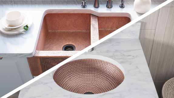 MR Direct copper sinks come in both kitchen and bathroom options