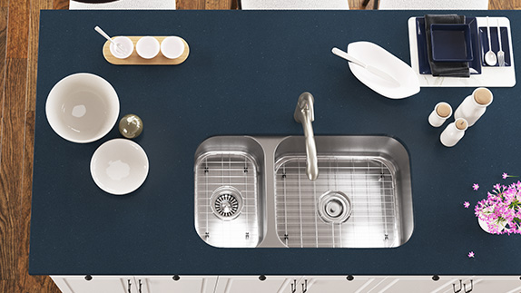 Double Bowl Kitchen Sinks are Available with Offset Bowl Sizes