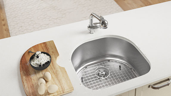 A D-bowl sink allows for creativity in faucet placement.