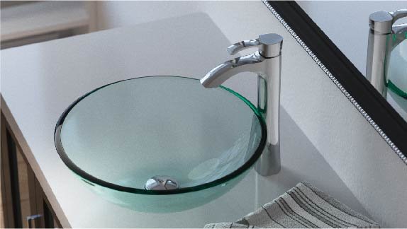 Maintaining a glass bathroom sink is the same as any other glass in the home