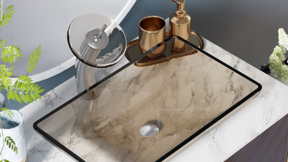 MR Direct glass vessel sinks come in a variety of colors and shapes, with matching waterfall faucets.