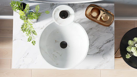 Stone bathroom sinks are made in a variety of finishes and materials