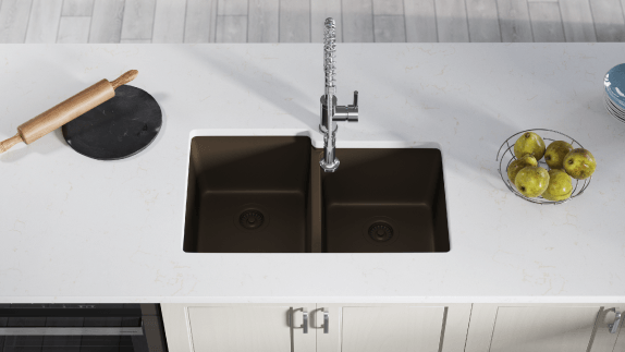 A blend of 80% quartzite and 20% acrylic gives our quartz sinks their durability and modern look