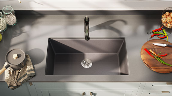 Undermount TruGranite sinks are a composite of quartzite and acrylic