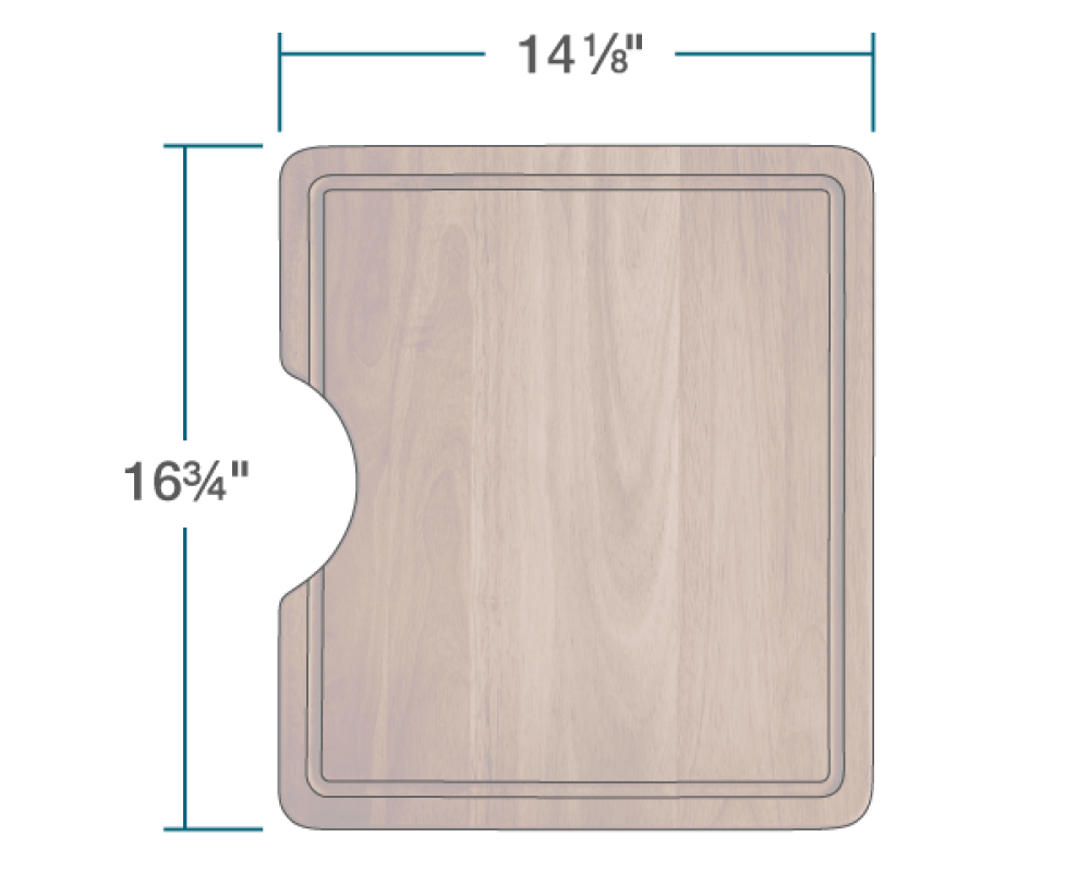 "The dimensions of CB-3120-S-SP Small Sapele Cutting Board is 14 1/8"" x 16 3/4"" x 1""."