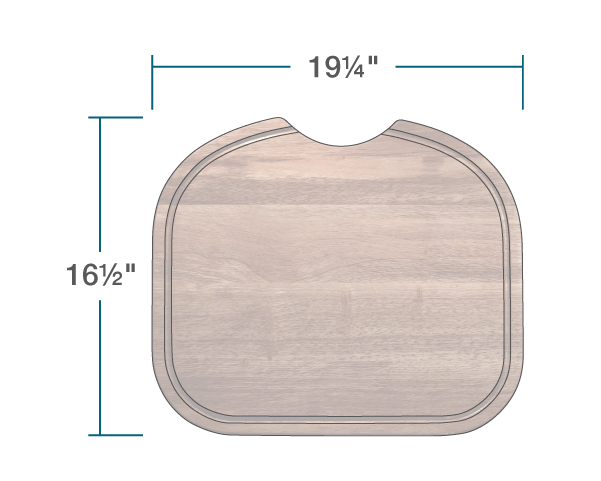 "The dimensions of CB-501-L-SP Cutting Board is 19 1/4"" x 16 1/2"" x 1""."