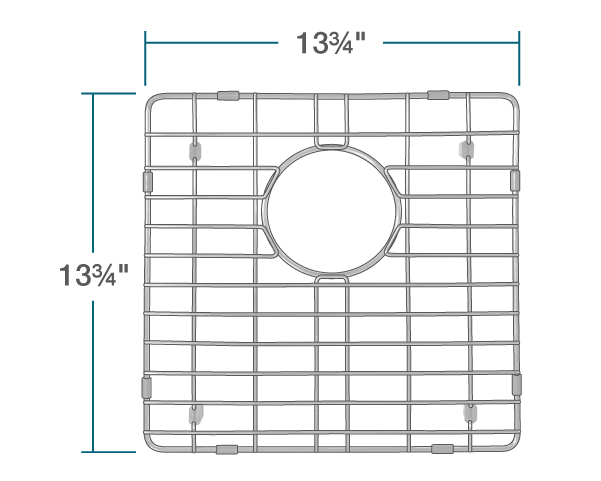 "The dimensions of G-1717-O Sink Grid is 13 3/4"" x 13 3/4"" x 1""."