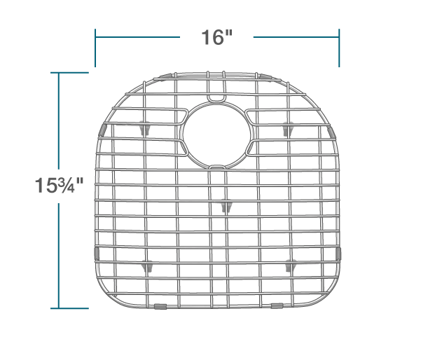 "The dimensions of G-3121-L Sink Grid is 16"" x 15 3/4"" x 1""."