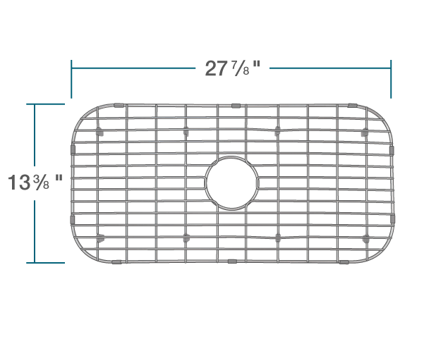 "The dimensions of G-3218C-O Sink Grid is 27 7/8"" x 13 3/8"" x 1""."