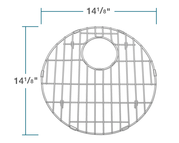 "The dimensions of G-465-O Sink Grid is 14 1/8"" x 14 1/8"" x 1""."