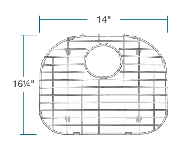 "The dimensions of G-501-L Sink Grid is 14"" x 16 1/4"" x 1""."